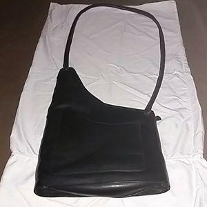 Very cool black long strap handbag